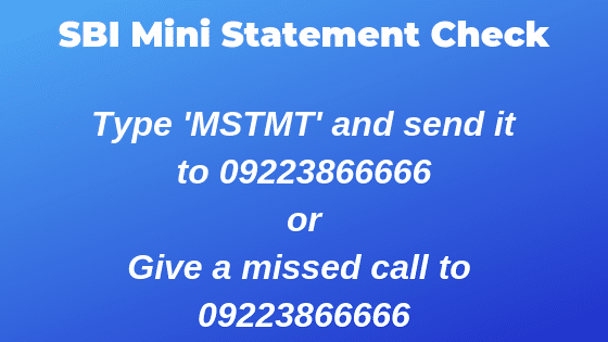 SBI Mini Statement Check