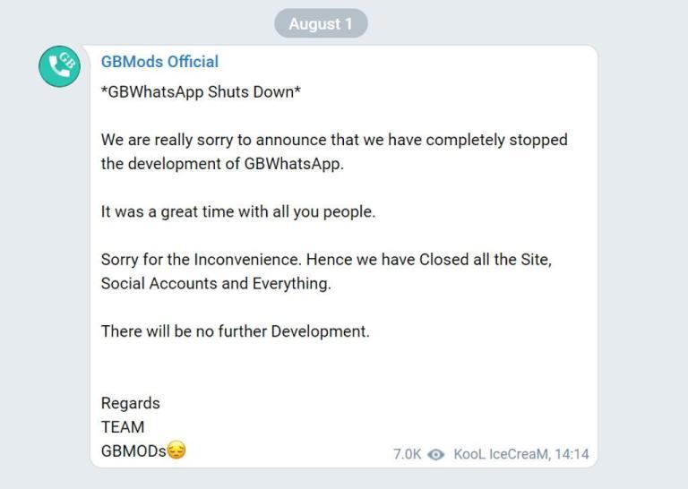 GbWhatsapp Shutdown